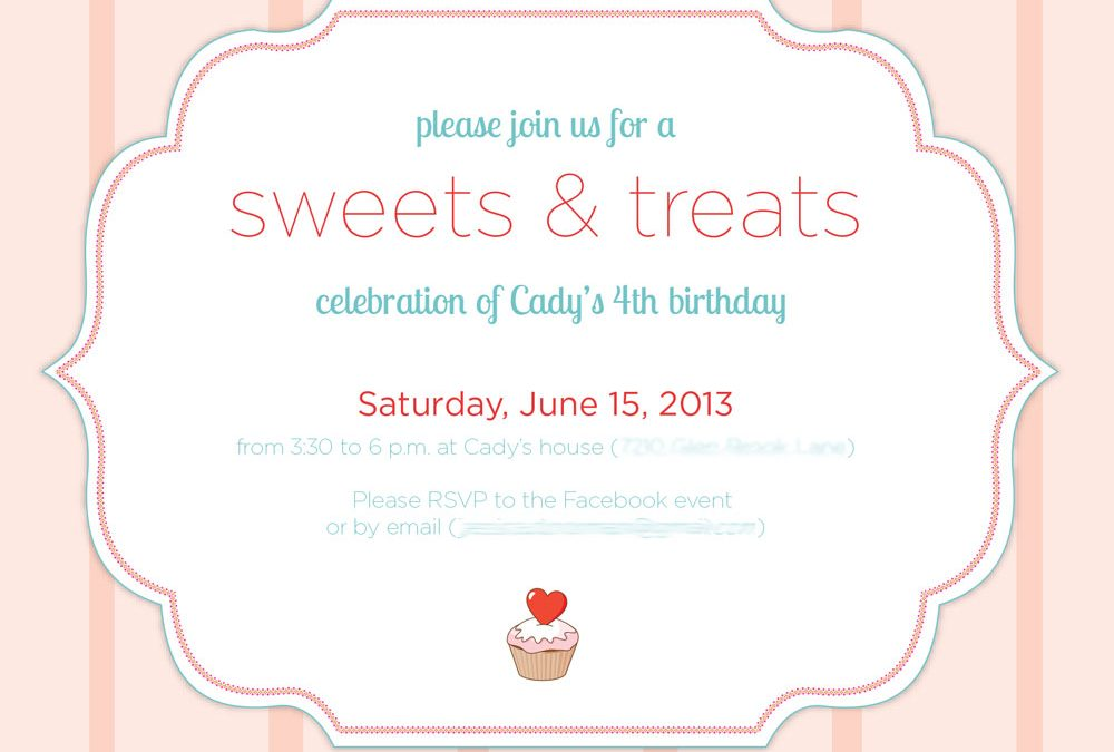 'Sweet' birthday invitation
