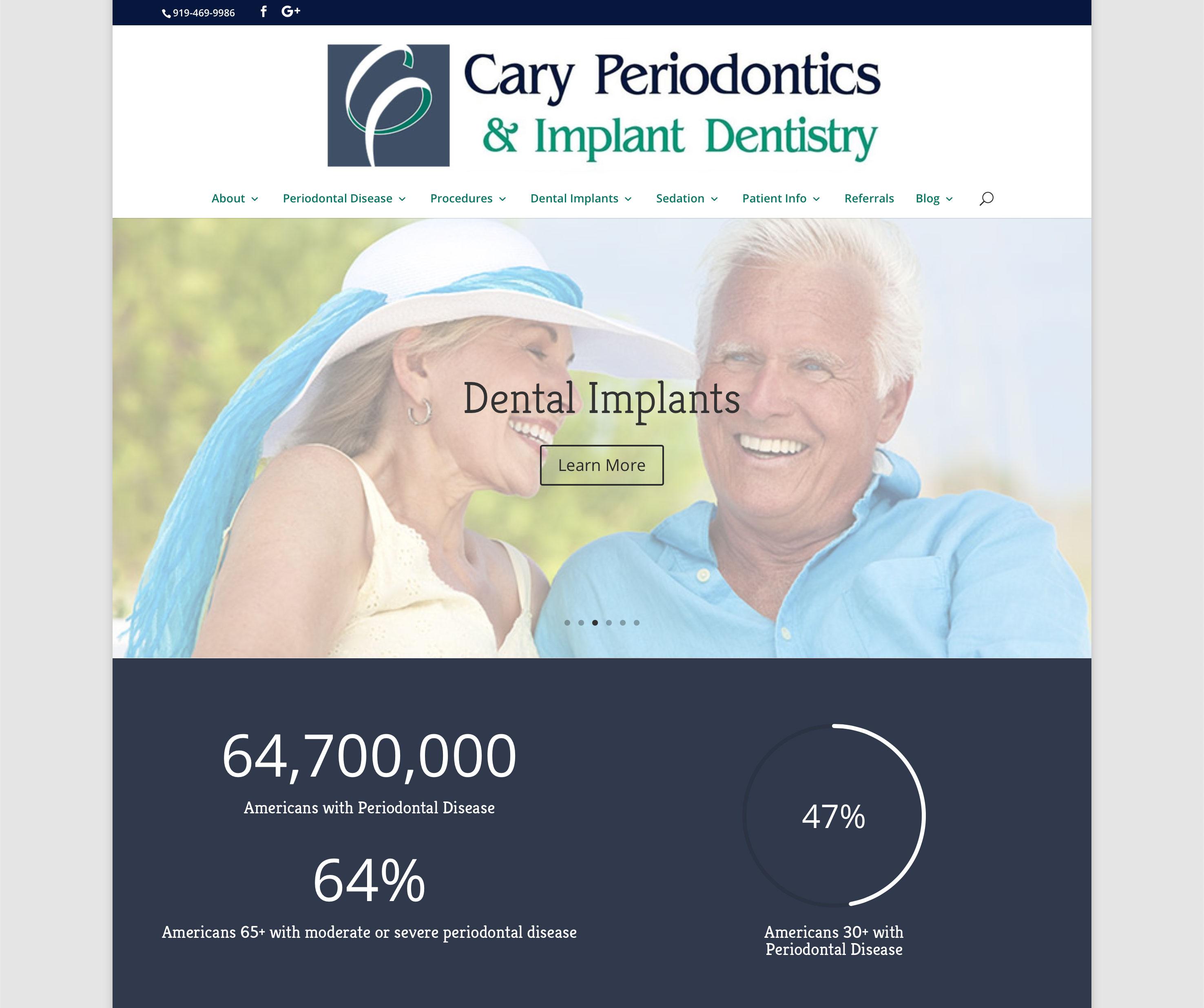 Cary Periodontics website homepage