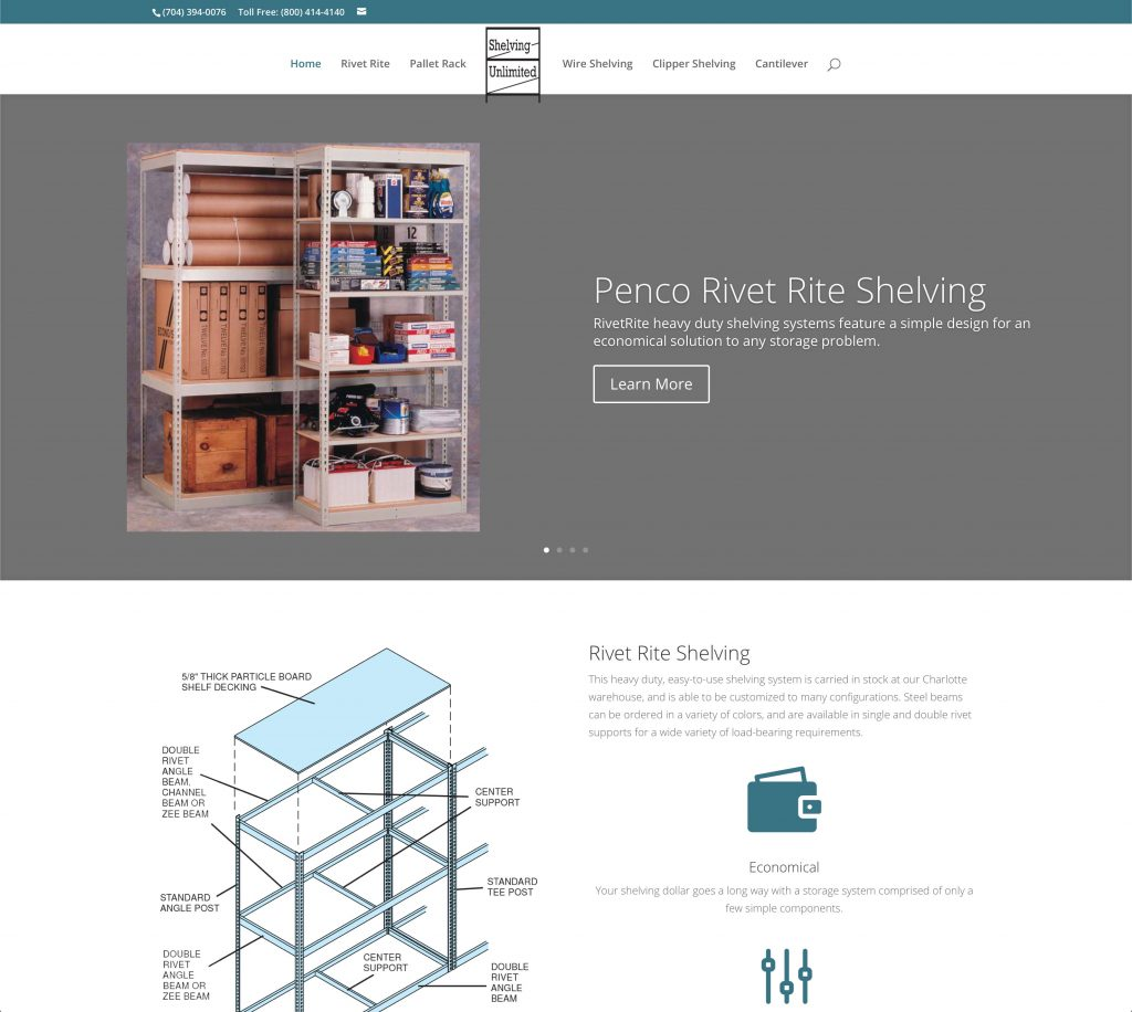 Shelving Unlimited site home page
